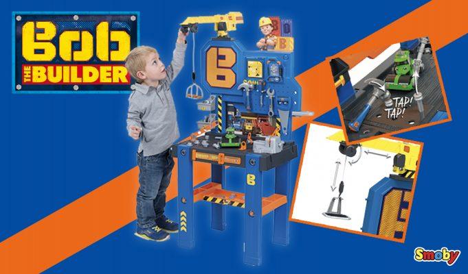 Herramientas de juguete de Bob The Builder. Centro de bricolaje con grúa